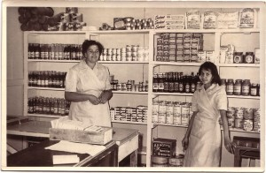 Bertha and Gloria Kapeen, Shop assistants, Numbahging Cooperative Store, Cabbage Tree Island, 1960