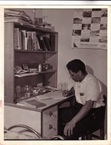 Lester Bostock in his study at Tranby, c.1964