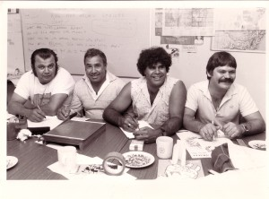 Four students of the Site Curators Course, 1986